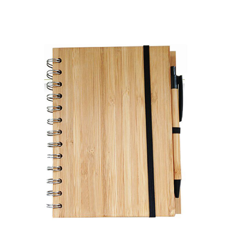 Wholesale ECO-Friendly Wooden Cover Business Notebook Office Stationery Bamboo Cover Notebook