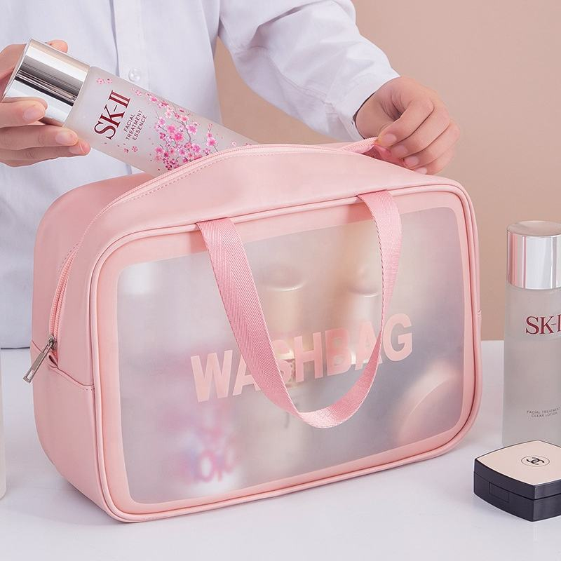 Custom Logo small Pink Waterproof cosmetic bags TPU Zip Pouch Kit Transparent VANITY Beauty Clear Travel Makeup mini Wash Bag