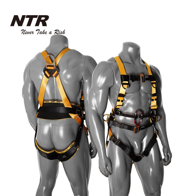 Full body fall protection arrest safety harness with lanyards