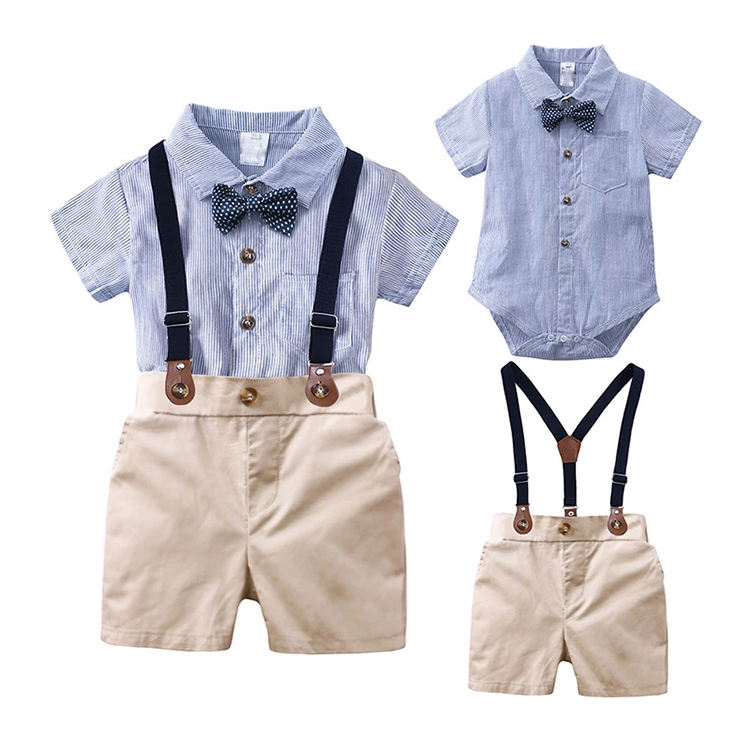 Summer newborn baby boy clothes 2PCS sets bow ties shirts + suspenders pants baby boys clothing set