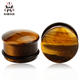 Organic Tiger Eye Stone Ear Plugs Gauges Flesh Tunnel Ear Saddle Plugs Earing Jewelry for Stretching 0 Gauge/00 Gauge