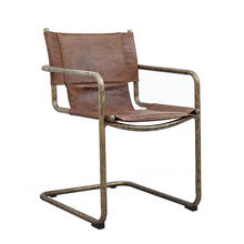 Vintage Leather Retro Metal Frame Dining Chair