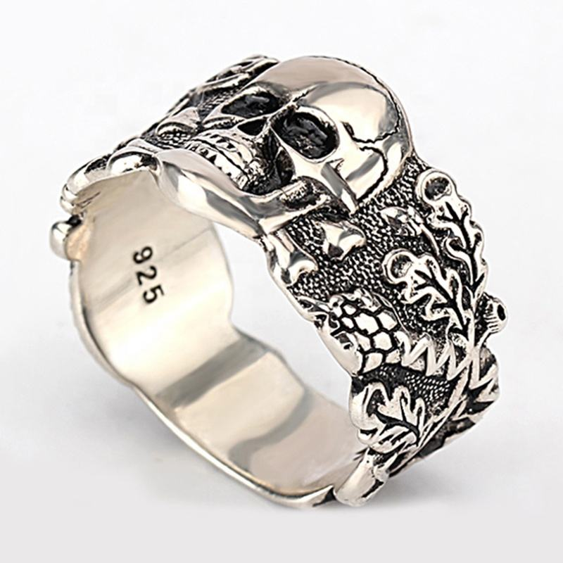 Wholesale S925 Sterling Silver Skull Men Rings Hip Pop Retro Punk Style Masonic Skull Ring for Man