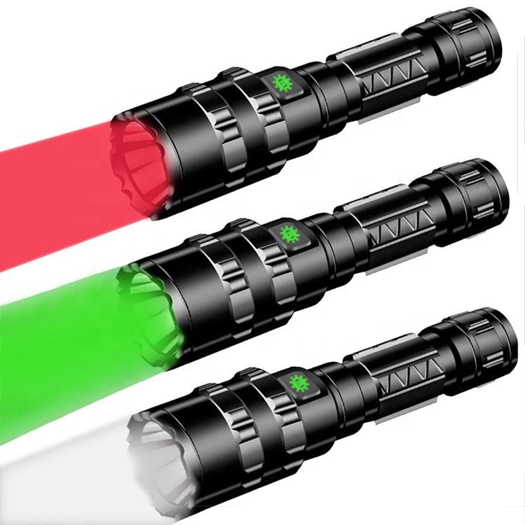 USB Rechargeable Tactical Torch Red Green Led Hunting Flashlight With Shooting Gun Holder Mount