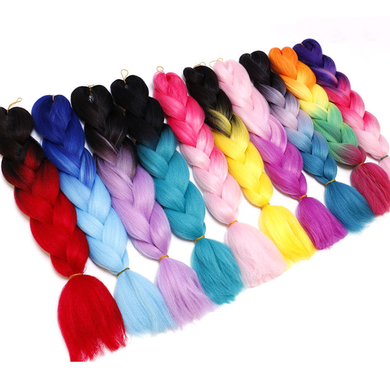 Vast Braiding Hair Synthetic Jumbo Braids Hair Extension White/Black Women Hot Style Pink Purple Blue Blonde Pure Piano Color
