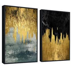 Golden blue modern abstract wall art decoration modern art canvas painting printing picture living room dining room bedroom home