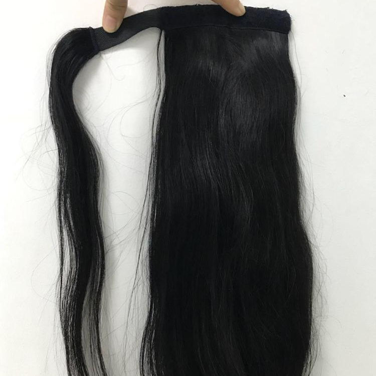 "20"" straight natural black Human Hair Ponytail Extensions Wrap Around Clip in Ponytail hair 100g- CUTICLE ALIGNED -TOP QUALITY"