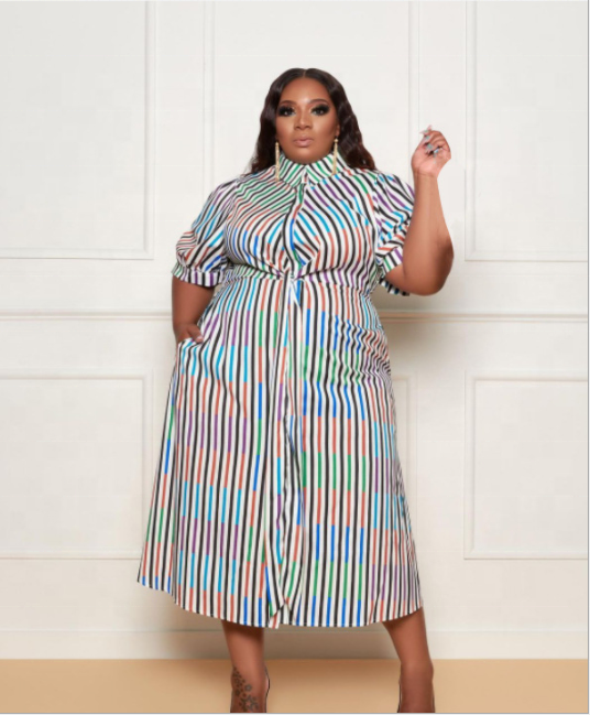 2021 Women Plus Size Clothes Short Sleeve Stripe XL XXL 5XL Plus Size Shirt Dress