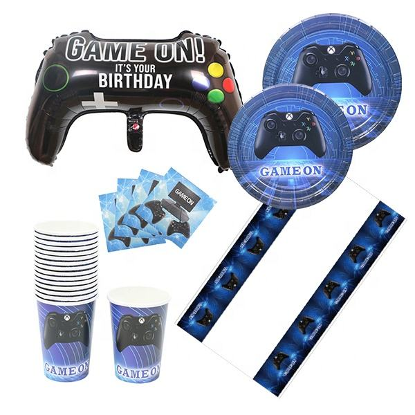 Partycool Gelukkige Verjaardag Cake Topper Folie Latex Ballonnen Video Game Thema Decoraties Supply Set Voor Kids Feestartikelen Game