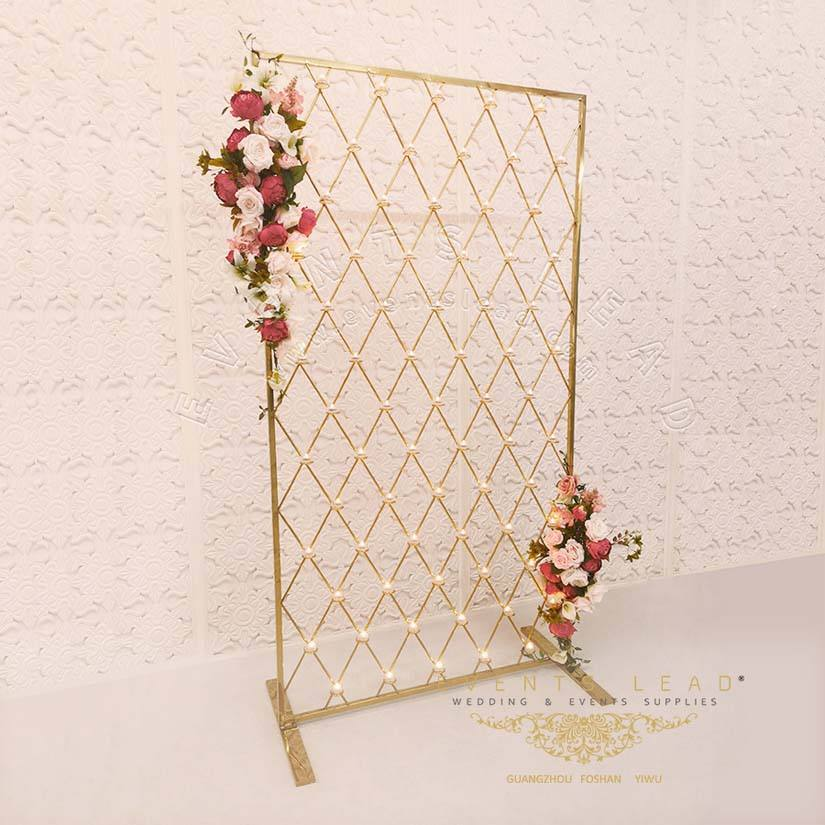 High quality beautiful hot sell rectangle gold backdrop for birthday events