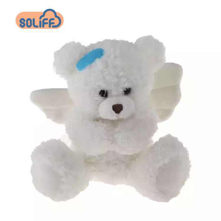 Custom Cute Recordable White Stuffed Plush Teddy Bear Toy With Angel Wings