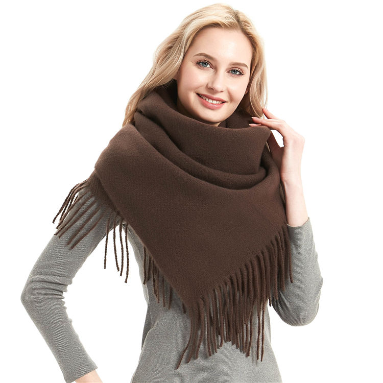 Fashion Lady Warm Pure Kleur Sjaal 100% Cashmere Winter Sjaal Womens