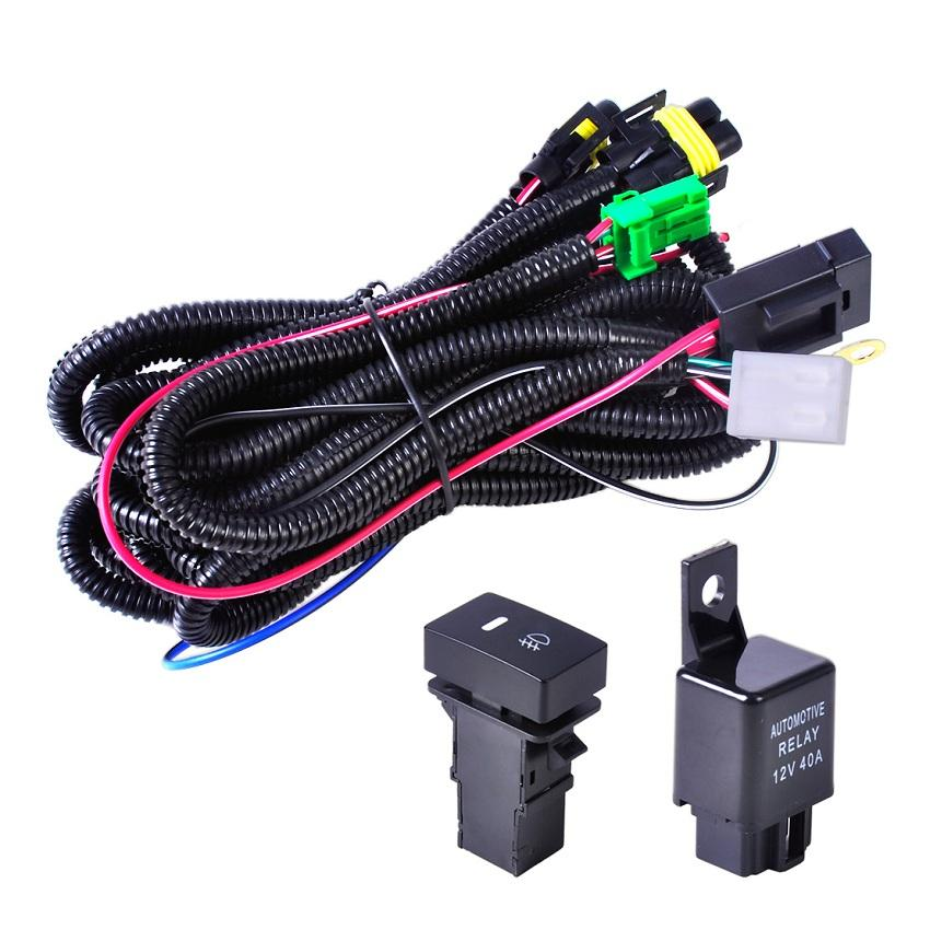 40A Relay 12v Button Switch H11 Led Fog Light Wiring Harness Accord Focus Hid Headlights