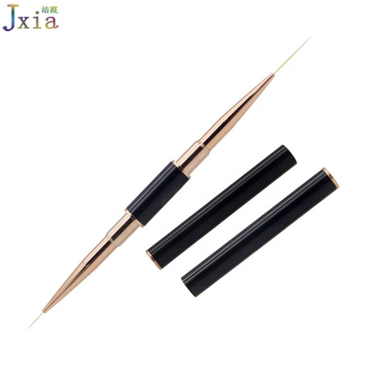 New Good Quality Black Metal Handle Rose Gold Ferrules Imported Thin Nylon Hair Nail Art Liner Brushes