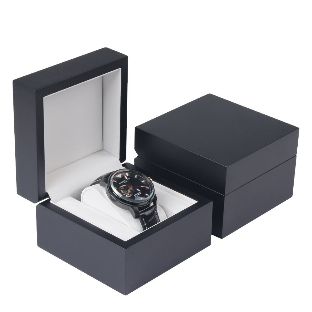 Wholesale Luxury Black Matte Lacquer Gift Wooden Watch Box With Customized Logo,Wooden Watch Box in stock
