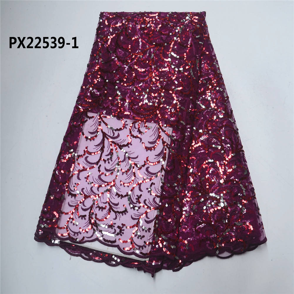 PX22539 Top quality indian lace factory embroidery net fabric with sequins organza fabric