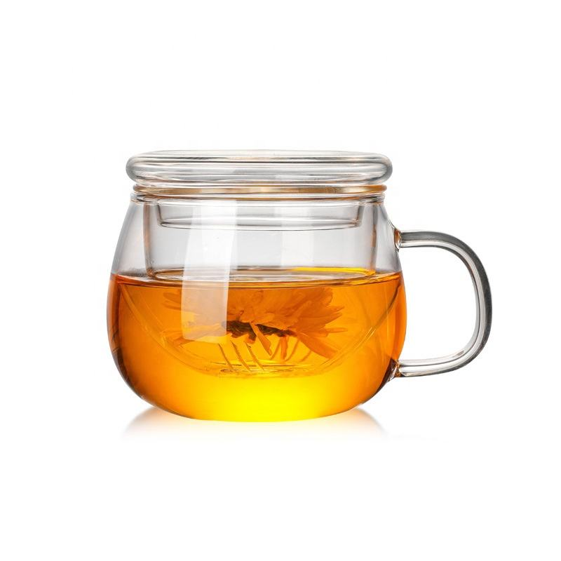 2020 New Arrival 330 Ml Borosilicate Glass Tea Infuser Cup Set Với Infuser Giỏ