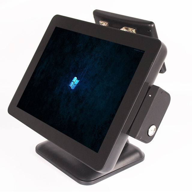 pos 15 inch aluminum touch all in one cashier computer with pos customer display
