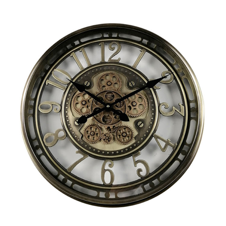 antique style industrial rustic luxury wall clock gold round metal moving gear clock