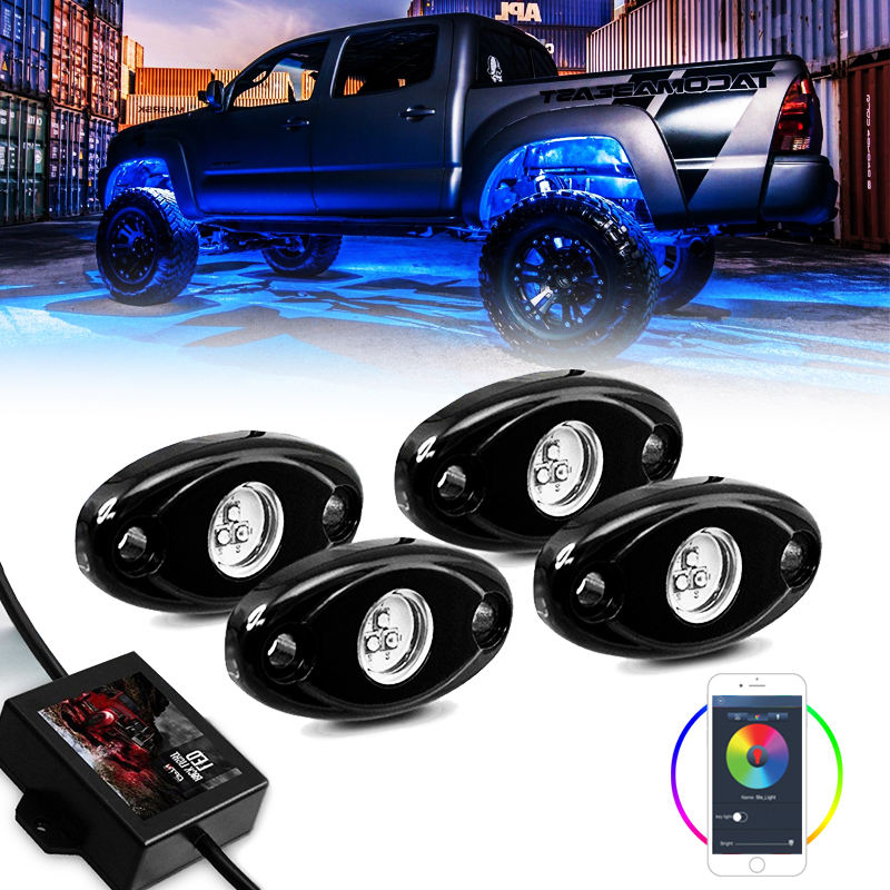 4 Pods Rgb Led Rock Licht <span class=keywords><strong>Underbody</strong></span> Verlichting Voor Jeep Truck Atv Suv Door App Controle