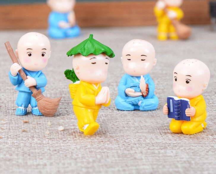 8 designs various colors Chinese monks figurine art decorations of abstract religious figures
