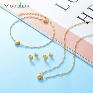 Modalen Chain Gold Plated Jewelry Women Stainless Steel Jewellery Earring Necklace Set