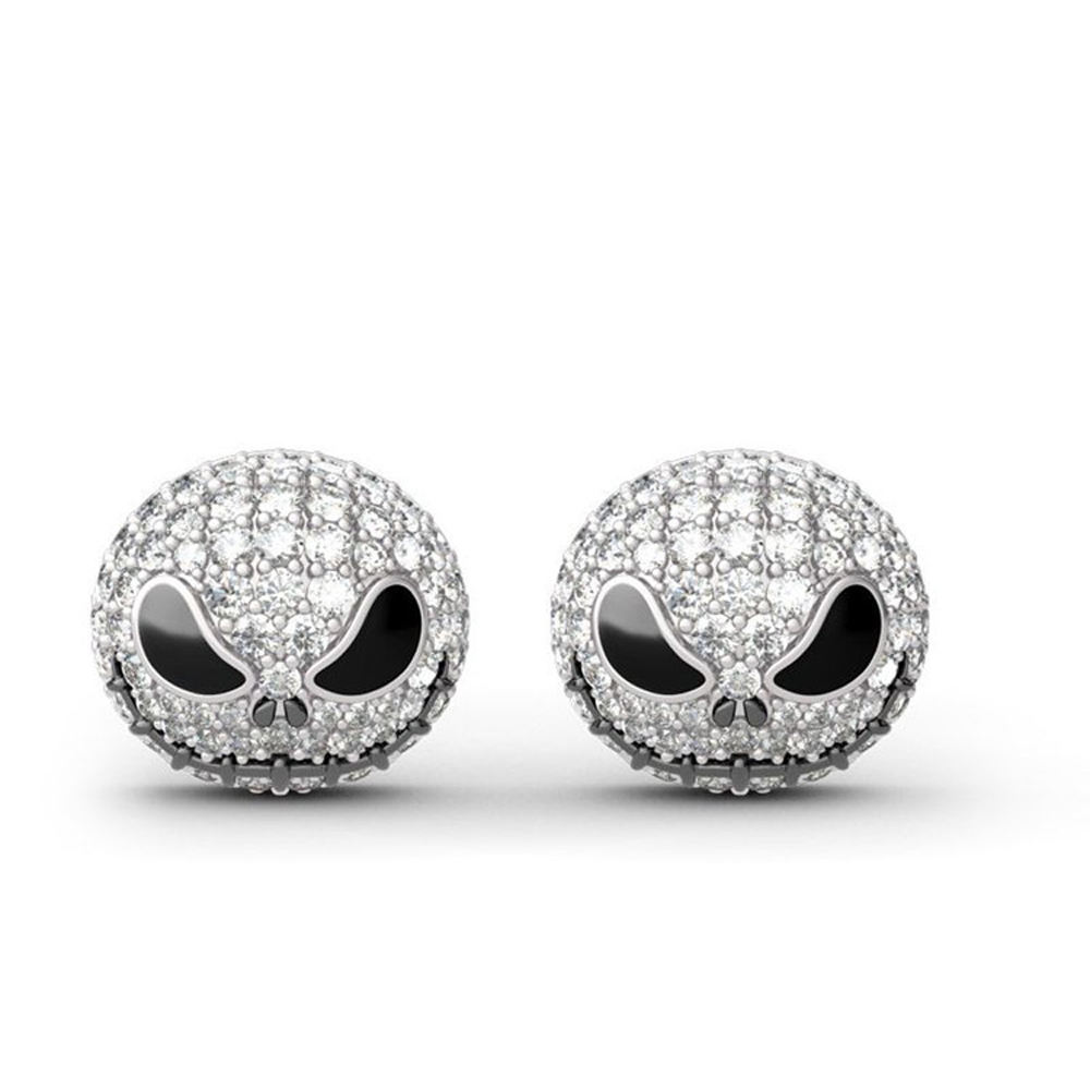 Wholesale Explosion Round Alloy Sliver Little Devil Skull Stud Earrings For Women Crystal Party Earrings Jewelry