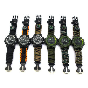 Travel Adjustable Survival Kits Outdoor Multi-function Tool Whistle Compass Flint Survival Waterproof Watch Bracelet