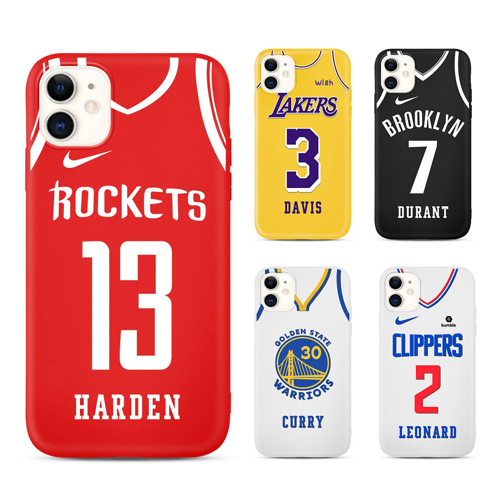 Fashion NBA uniform number silicone phone cases for iPhone 11 12 Pro UV Printing soft TPU back cover