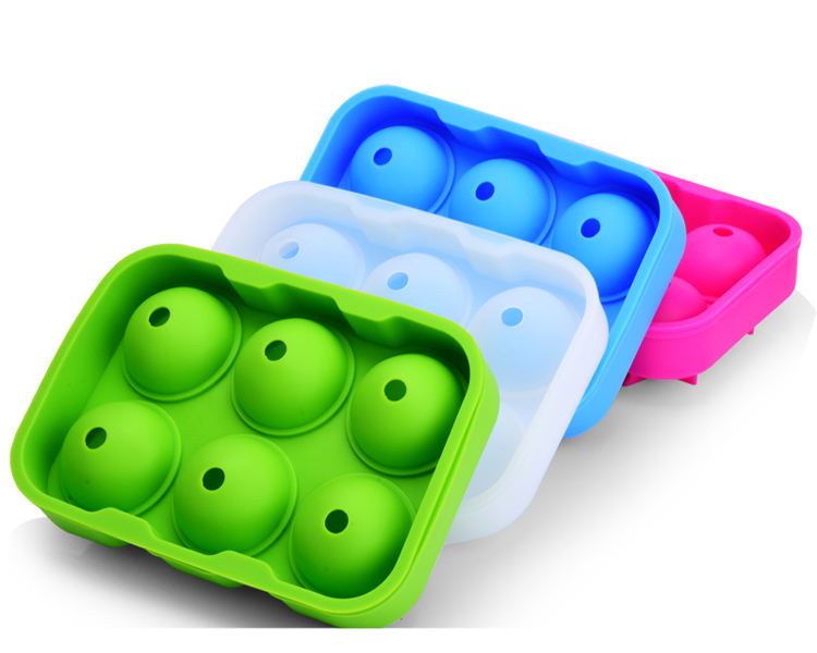 Wholesale Food-Grade 6 pcs ball per sets Silicone Ice Ball Mould Tray