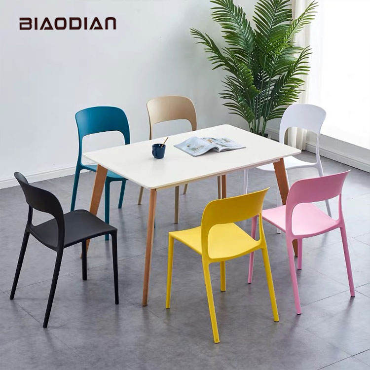 Leisure Plastic Chair Wholesale Cheap Dining Room Furniture Leisure Armless Colorful Stackable Plastic Dining Chair