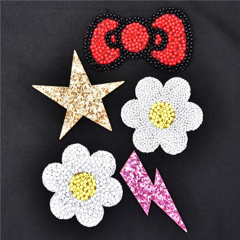 beads applique flowers hotfix motifs iron on garment shoes decoration patch stickers diamond rhinestone sequins star lightning