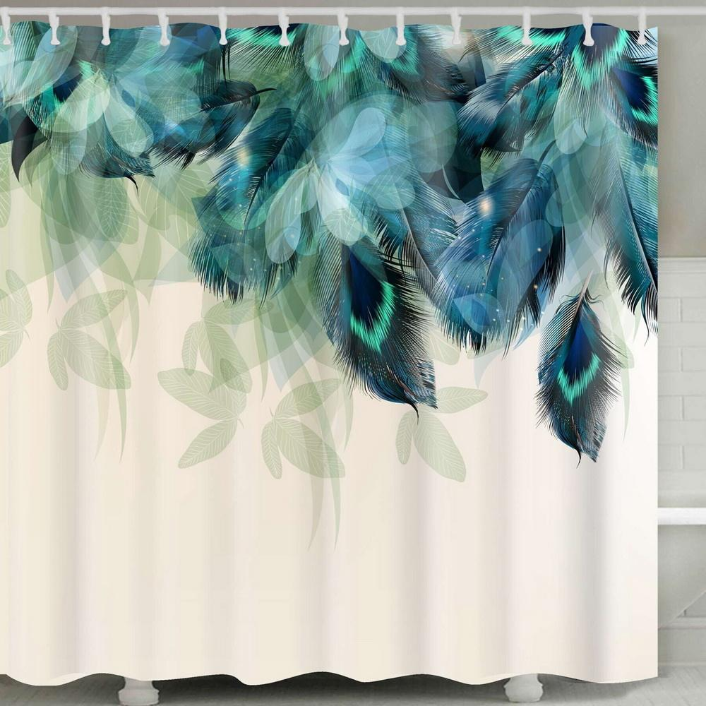 Amazon Top Seller 2019 3D Custom Digital Print Waterproof Polyester Fabric Shower Curtain with Hooks