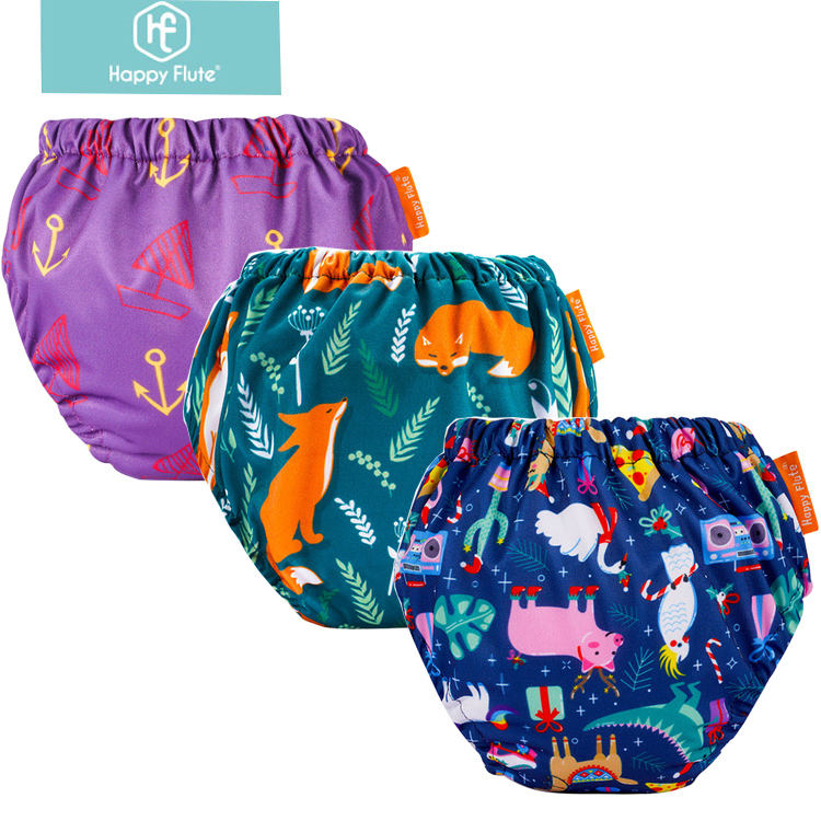 Happyflute baby training pants washable cotton baby cloth diapers nappies printed training pants for baby