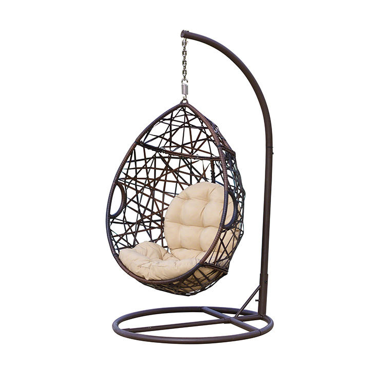 Outdoor Single Seat Garden Furniture Rattan Patio Swings Hanging Egg Chair with Stand