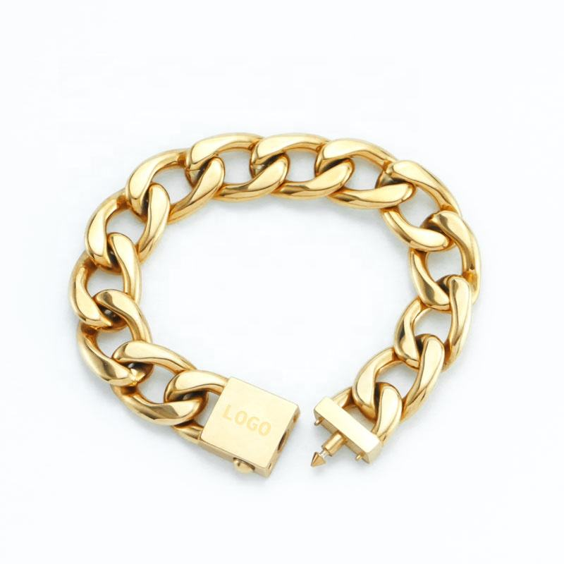 OEM Customized Stainless Steel Cuban Link Chain 14K 18K Gold Plated Bracelet Jewelry