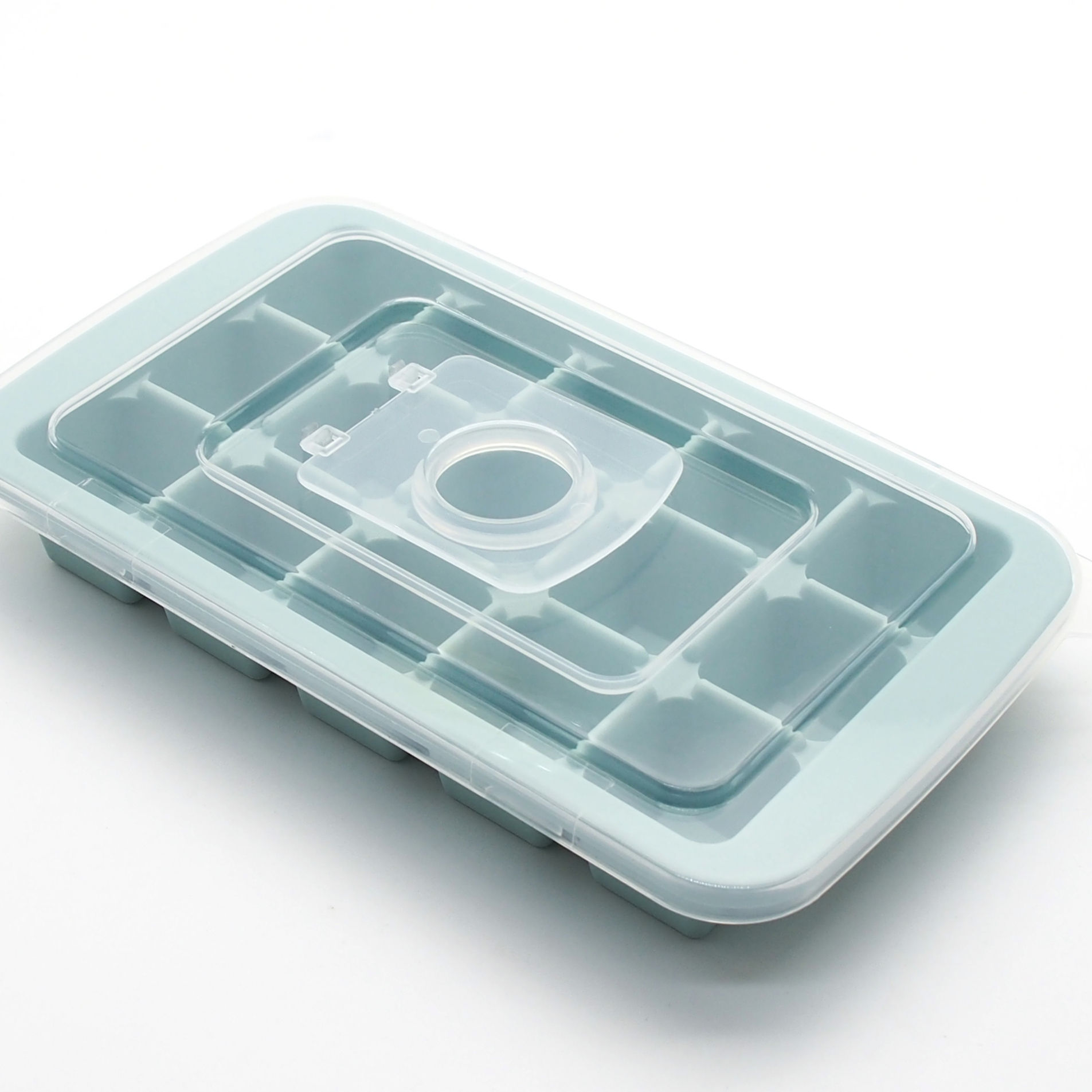One-Stop Service [ Silicone Ice ] Creative Water Inlet Design 15 Silicone Ice Cube Trays With Lid
