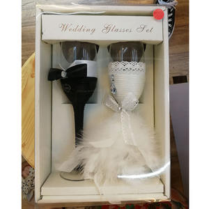 Ywbeyond 2Pcs Set Fashion Toasting Wedding Glasses Cup Champagne Flutes For Bride And Groom Wine Glass Wedding