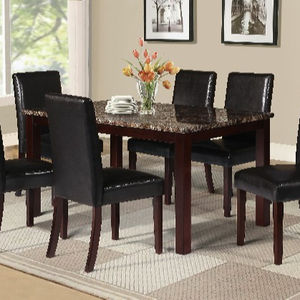 6piece home kitchen dining room metal furniture set with faux marble top table and 4 chairs
