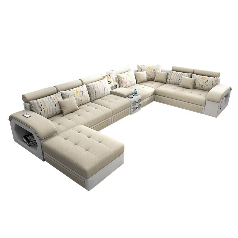 Factory wholesale U shaped design Leather fabric sofa living room sofa set