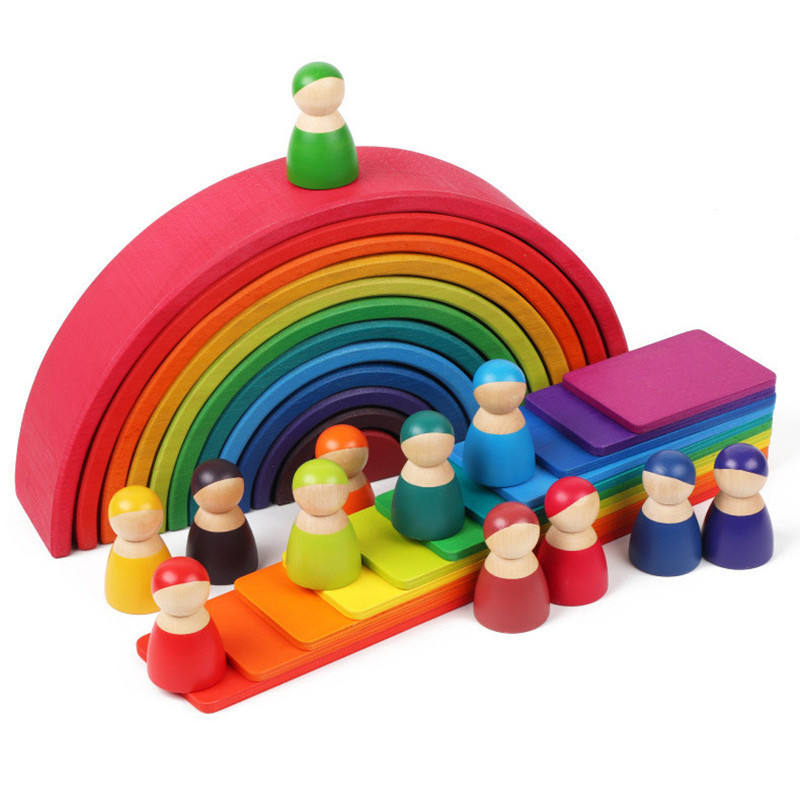 Baby Large Rainbow wooden Stacker Wooden Toys For Kids Creative Rainbow Building Blocks Montessori Educational Toy Children