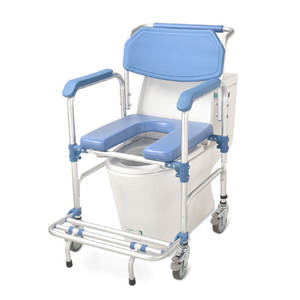 3-in-1 Commode Wheelchair Bedside Toilet & Shower Chair Bathroom Rolling Chair