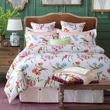 Wholesale 100% cotton printed duvet cover white bedding set luxury bed sheet set in stock