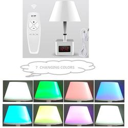 Beauty Colorful Auto LED Night Desk Lamp with USB Charging Port and Clock
