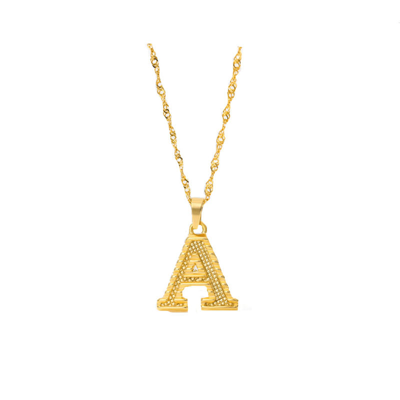 2020 New 26 Alphabet Pendant Stainless Steel 18K Gold Plated Initials Necklace