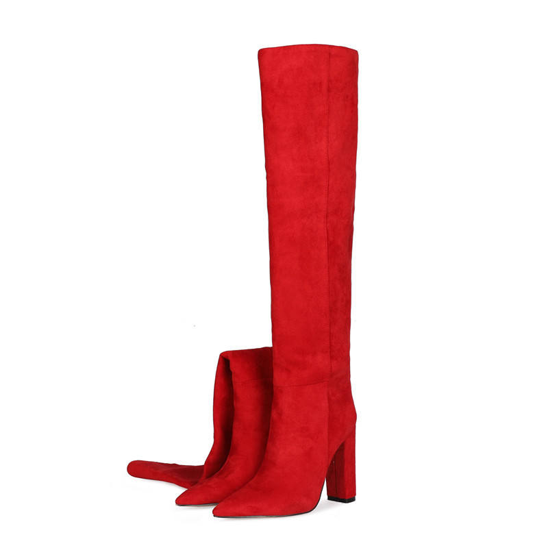 fashion show style women's shoes large solid color pleated high tube knee high boot for women