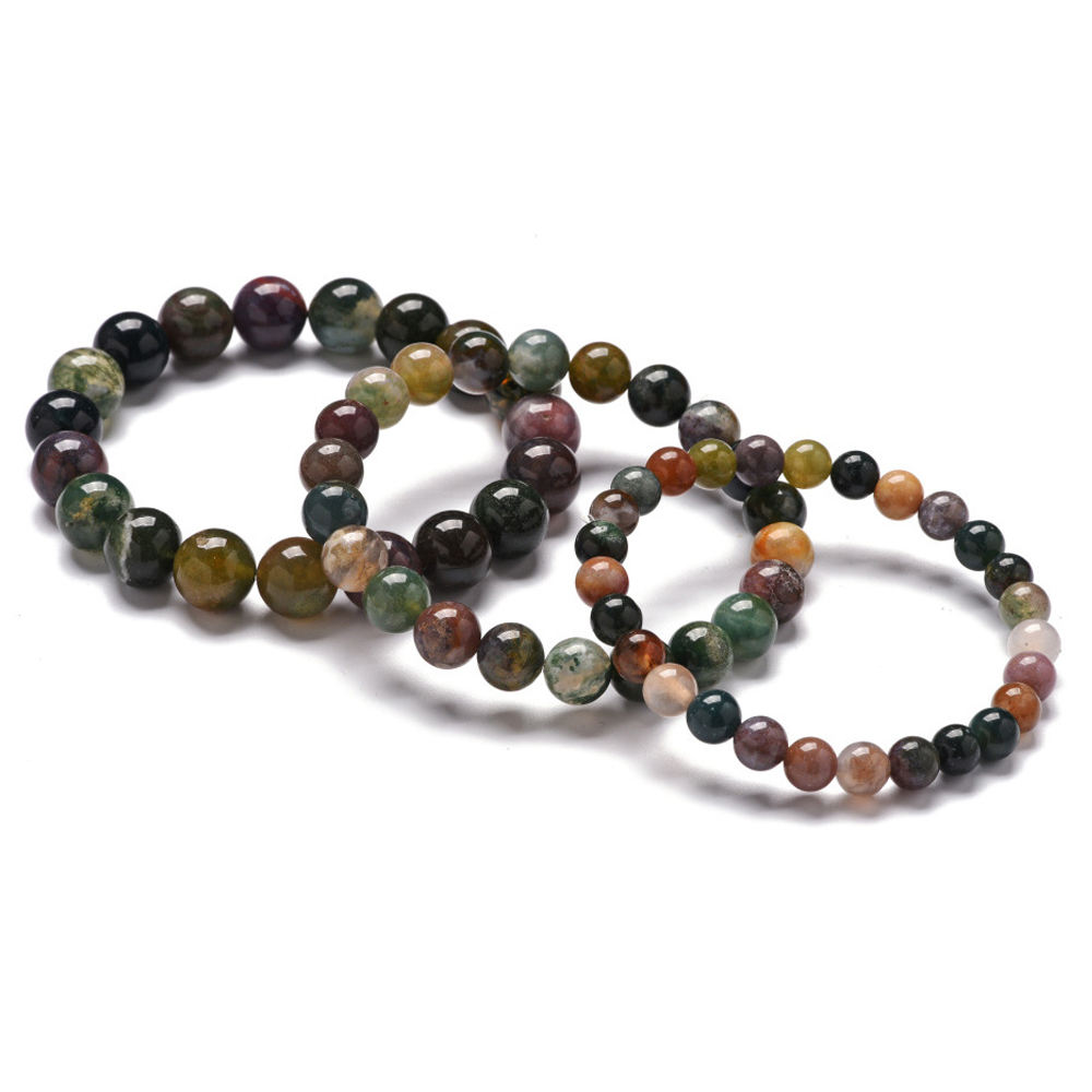 Fashion Simple Handmade Natural Indian Agate Stone Beaded Elastic Bracelets Jewelry 6/8/10mm