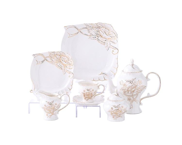 Hot Selling Bone China Coffee Set Table Ceramic Cup Tea Set Gift With Tray