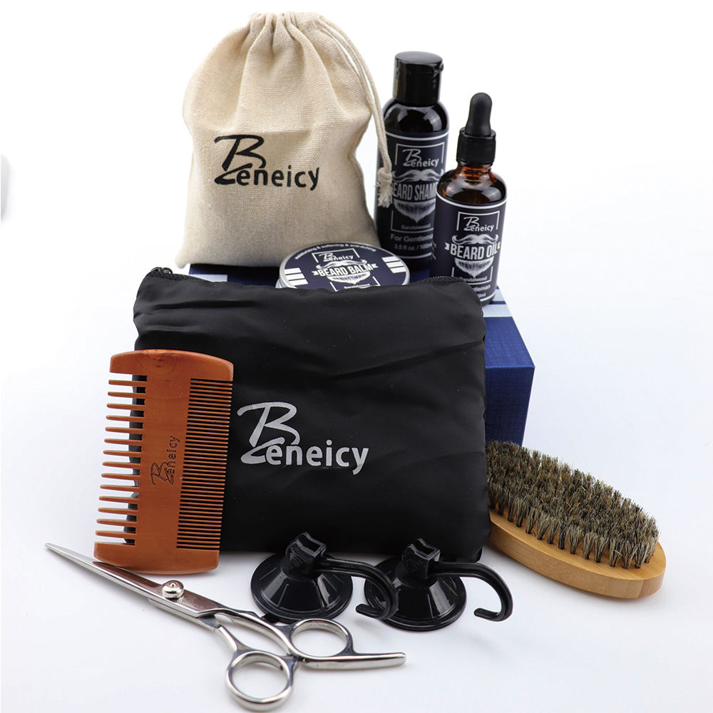 Beard Grooming Kit,Beard Balm, Comb,Scissors,Conditioner,Best Beard Mens Gifts Dad Him Christmas