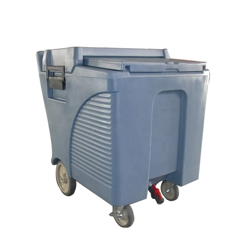 125L durable plastic ice storage caddy with wheels